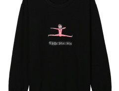 Black Character And Letters Print Long Sleeve Sweatshirt Choies.com online fashion store United Kingdom Europe