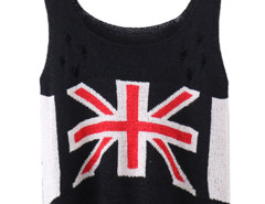 Black Character Mi Cut Out Ripped Knit Vest Choies.com online fashion store United Kingdom Europe