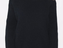 Black Cold Shoulder Long Sleeve Jumper Choies.com online fashion store United Kingdom Europe