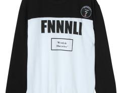 Black Color Block Letter Print Sweatshirt Choies.com online fashion store United Kingdom Europe