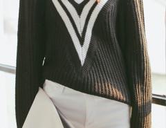 Black Color Block Stripe V Neck Long Sleeve Jumper Choies.com online fashion store United Kingdom Europe
