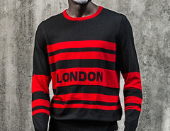 Black Color Block Striped Letter Jacquard Jumper Choies.com online fashion store United Kingdom Europe
