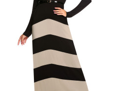 Black Contrast Chevron Print Belt Waist Maxi Dress Choies.com online fashion store United Kingdom Europe