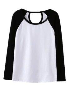 Black Contrast Cut Out Long Sleeve T-shirt Choies.com online fashion store United Kingdom Europe