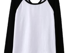 Black Contrast Cut Out Long Sleeve T-shirt Choies.com online fashion store United Kingdom Europe