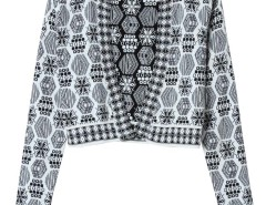 Black Contrast Geo Pattern Button Buttom Short Cargigan Choies.com online fashion store United Kingdom Europe