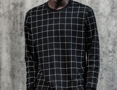 Black Contrast Grid Print Ribbed Sweatshirt Choies.com online fashion store United Kingdom Europe