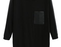 Black Contrast PU Detail 3/4 Sleeve T-shirt Choies.com online fashion store United Kingdom Europe
