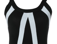 Black Contrast Stripe Back Zipper Crop Top Choies.com online fashion store United Kingdom Europe
