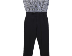 Black Contrast Stripe Cube Print Wrap Front Jumpsuit Choies.com online fashion store United Kingdom Europe