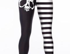 Black Contrast Stripe Skull Print Leggings Choies.com online fashion store United Kingdom Europe