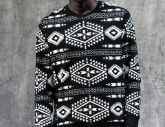 Black Contrast Totem Aztec Print Sweatshirt Choies.com online fashion store United Kingdom Europe