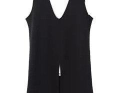 Black Contrast V-neck Split Front Vest Dress Choies.com online fashion store United Kingdom Europe