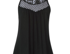 Black Crochet Cut Out Tie Back Textured Vest Choies.com online fashion store United Kingdom Europe