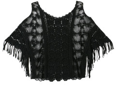 Black Crochet Lace Cold Shoulder Tassel Crop Top Choies.com online fashion store United Kingdom Europe