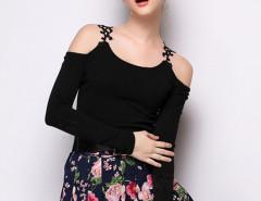 Black Crochet Lace Panel Cold Shoulder Long Sleeve T-shirt Choies.com online fashion store United Kingdom Europe