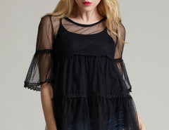 Black Crochet Lace Panel Flare Sleeve Blouse And Tight Vest Choies.com online fashion store United Kingdom Europe