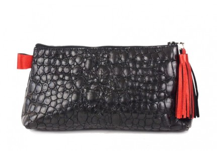 Black Croco Leather Purse With Red Leather Tassel Carnet de Mode online fashion store Europe France