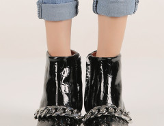 Black Crocodile Chunky Chain Zip Ankle Boots Choies.com online fashion store United Kingdom Europe