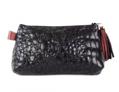 Black Croo Printed Leather Purse With Burgundy Leather Tassel Carnet de Mode online fashion store Europe France