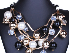 Black Crystal Bead Faux Pearl Statement Necklace Choies.com online fashion store United Kingdom Europe