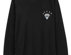 Black Diamond And Letter Print Long Sleeve Sweatshirt Choies.com online fashion store United Kingdom Europe