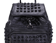 Black Drawstring Studs Embellished Small Backpack Choies.com online fashion store United Kingdom Europe