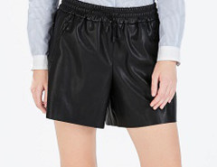 Black Elastic Waist Zipper Detail PU Shorts Choies.com online fashion store United Kingdom Europe