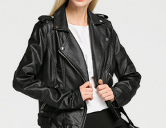 Black Epaulet Lapel Zip Detail Belt Waist Biker Jacket Choies.com online fashion store United Kingdom Europe