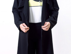 Black Epaulet Roll-up Sleeve Open Front Trench Coat Choies.com online fashion store United Kingdom Europe