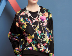 Black Floral And Bird Print Sweatshirt Choies.com online fashion store United Kingdom Europe