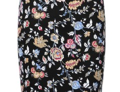 Black Floral Back Split Zipper Detail Bodycon Skirt Choies.com online fashion store United Kingdom Europe