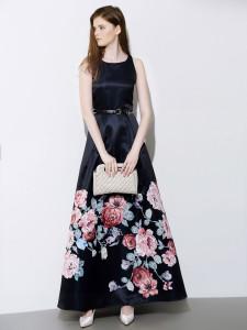 Black Floral Print Sleeveless Belt Waist Skater Maxi Dress Choies.com online fashion store United Kingdom Europe