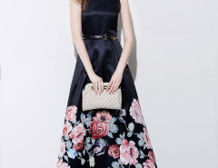 Black Floral Print Sleeveless Belt Waist Skater Maxi Dress Choies.com online fashion store United Kingdom Europe