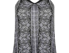 Black Front Mustache Print Mesh Panel Vest Choies.com online fashion store United Kingdom Europe