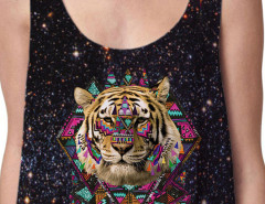Black Galaxy And Tiger Print Cropped Vest Choies.com online fashion store United Kingdom Europe