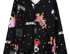 Black Galaxy Cartoon And Letter Print Jacket Choies.com online fashion store United Kingdom Europe