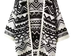 Black Geo Pattern Batwong Sleeve Tassel Open Front Cardigan Choies.com online fashion store United Kingdom Europe