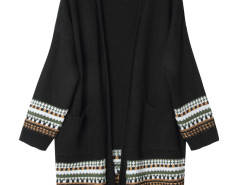 Black Geo Pattern Trim Longline Cardigan Choies.com online fashion store United Kingdom Europe