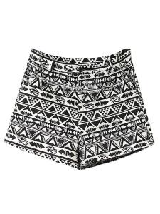 Black Geo Print High Waist Shorts Choies.com online fashion store United Kingdom Europe