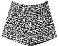Black Geo Print High Waist Shorts Choies.com online fashion store United Kingdom Europe