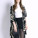 Black Geometric Pattern Half Sleeve Waterfall Knitted Cardigan Choies.com online fashion store United Kingdom Europe