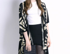 Black Geometric Pattern Half Sleeve Waterfall Knitted Cardigan Choies.com online fashion store United Kingdom Europe