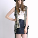 Black Geometric Pattern Sleeveless Waterfall Cardigan Choies.com online fashion store United Kingdom Europe
