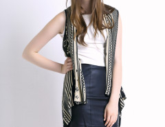 Black Geometric Pattern Sleeveless Waterfall Cardigan Choies.com online fashion store United Kingdom Europe
