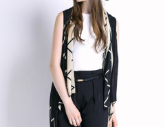 Black Geometric Pattern Sleeveless Waterfall Knitted Cardigan Choies.com online fashion store United Kingdom Europe