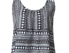 Black Geometry Print Strappy Cami Vest Choies.com online fashion store United Kingdom Europe