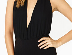 Black Halter Backless Plunge Ruched Bodysuit Choies.com online fashion store United Kingdom Europe