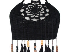 Black Halter Crochet Bead Tasseled Crop Top Choies.com online fashion store United Kingdom Europe