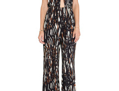 Black Halter Plunge Abstract Print Backless Palazzo Jumpsuit Choies.com online fashion store United Kingdom Europe